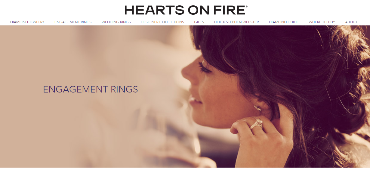 Hearts on Fire Website Homepage
