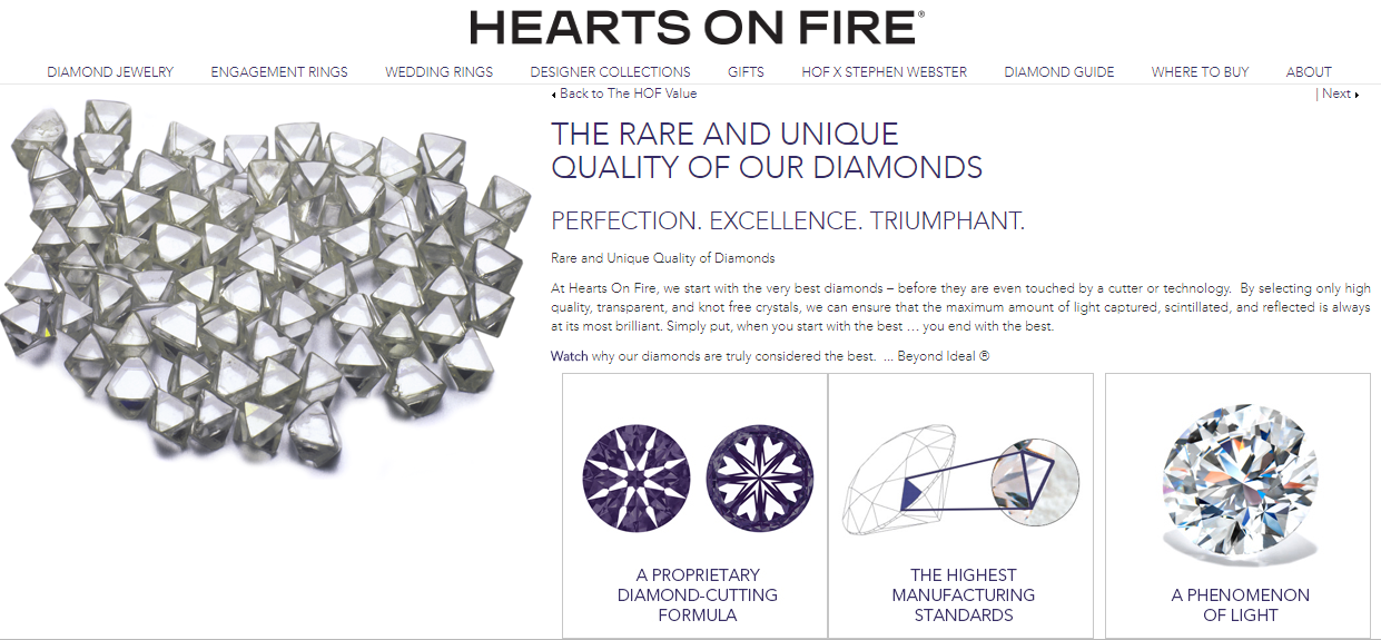 Hearts on Fire Website Rare And Unique