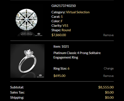 Whiteflash Diamond With Setting Total
