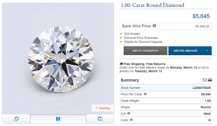Blue Nile 1 Carat Round Diamond