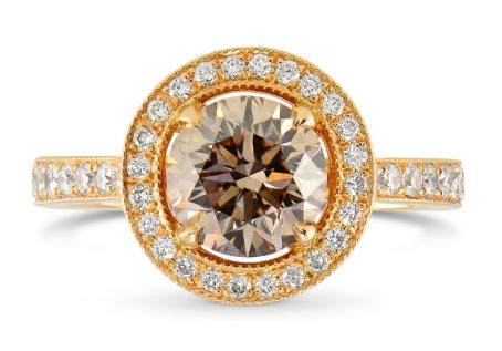 Leibish Rose Gold Fancy Brown Round Brilliant Milgrain Halo Engagement Ring