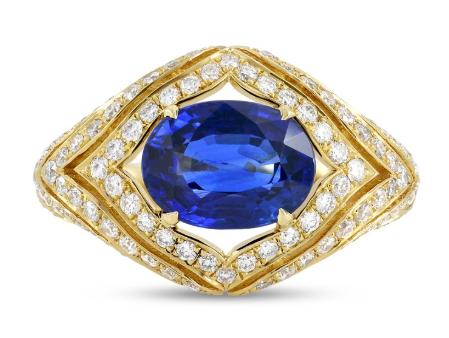 Leibish Sapphire and Diamond Designer Ring