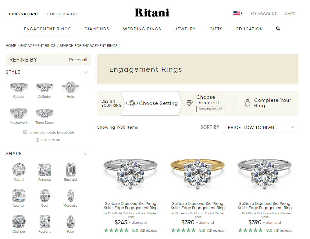 Ritani Engagement Rings Selections