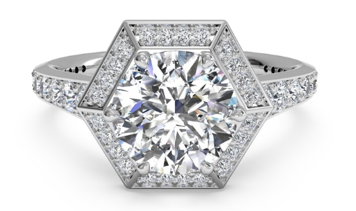 Ritani Vintage Hexagonal Halo Vaulted Engagement Ring