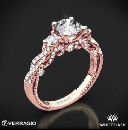 Whiteflash Verragio Rose Gold Braided 3 Stone Engagement Ring