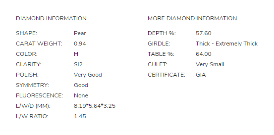 James Allen 0.90 Carat Pear Diamond Disproportion 2.1
