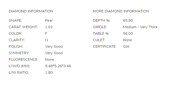 James Allen 1.02 Carat Pear Diamond Disproportion 1.1