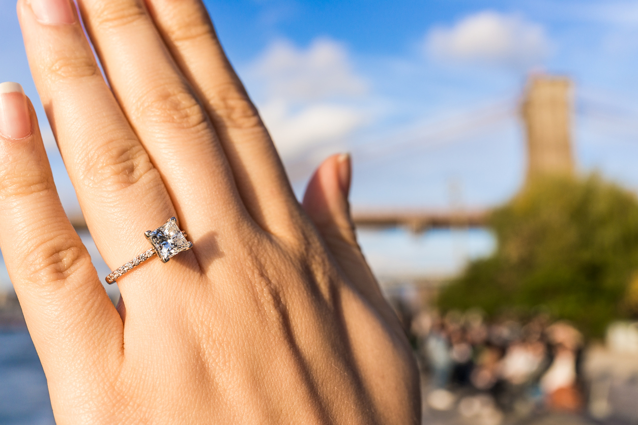 Princess Cut Engagement Ring on hand