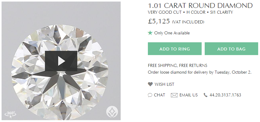 1.01ct Round Brilliant H-S11 from Brilliant Earth