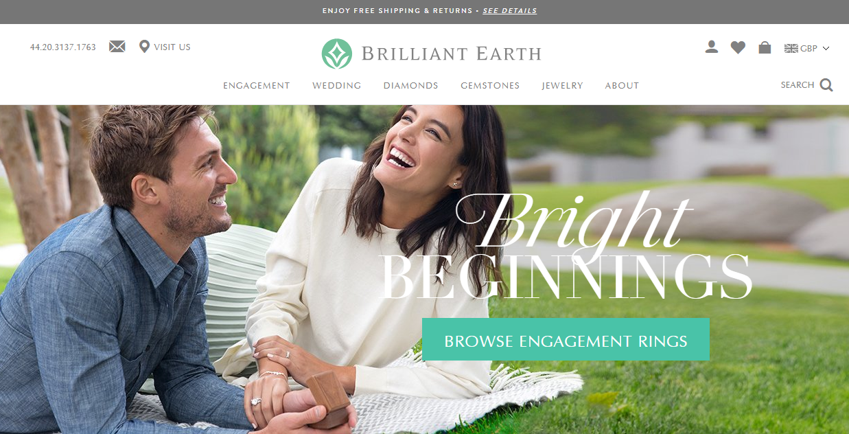 brilliant earth homepage