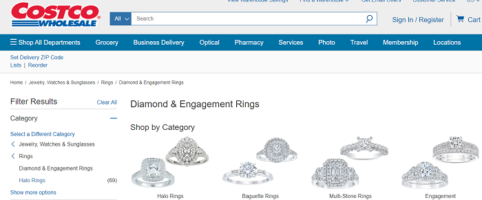 Costco Diamonds Homepage