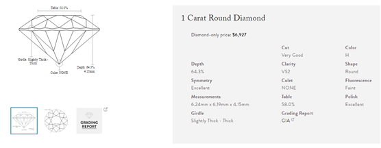 1 carat helzberg example diamond
