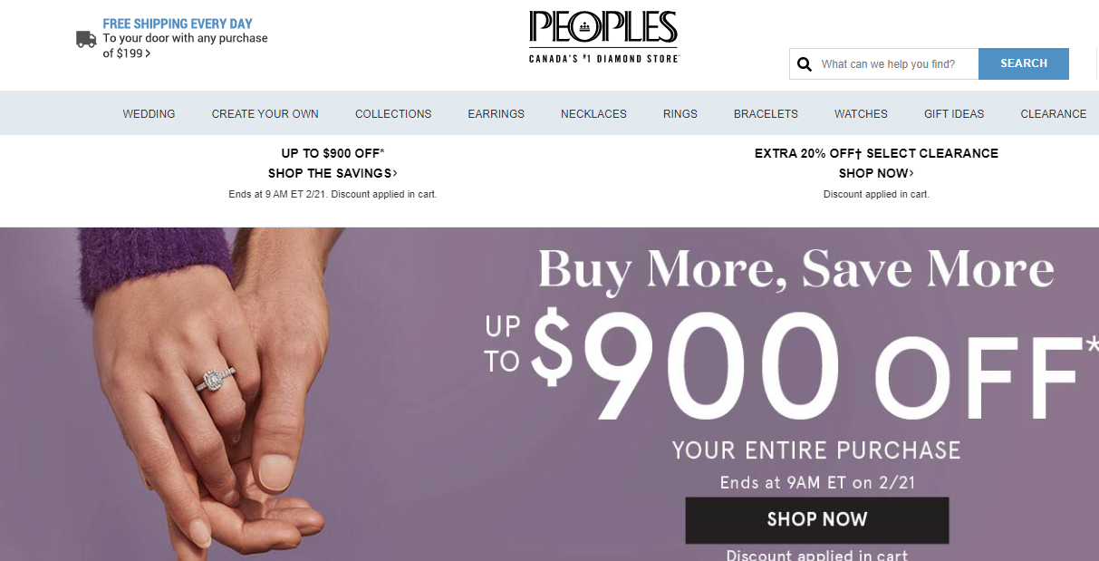 peoples jewellers web page