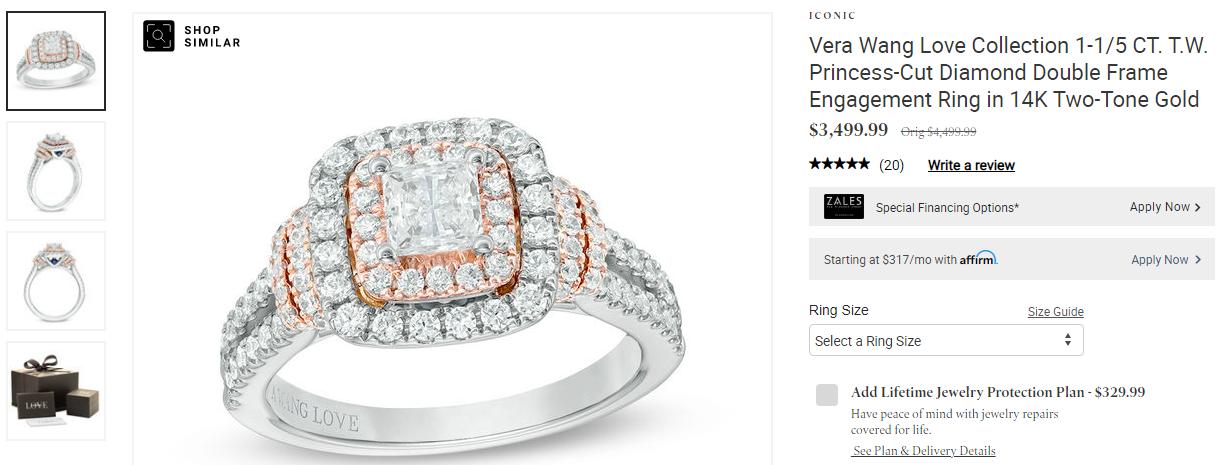 vera wang halo design ring