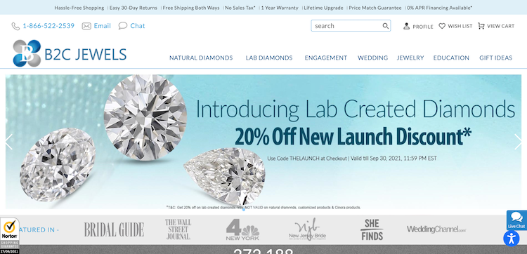 B2C Jewels Homepage Review